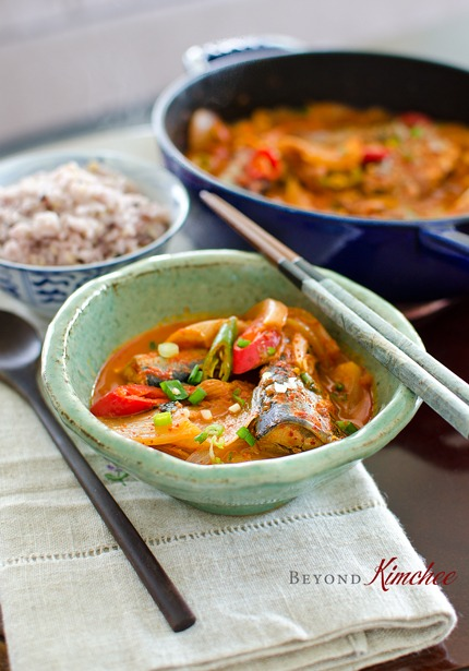 mackerel pike kimchi stew is served with rice