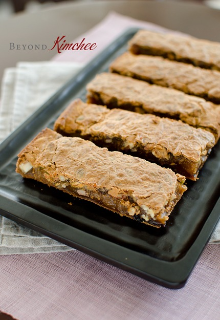 LA style sweet rice cake bars are loaded with nuts and seeds