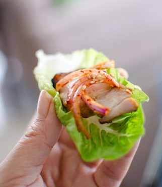 Korean pork belly wrap with oven roasted pork and spicy onion