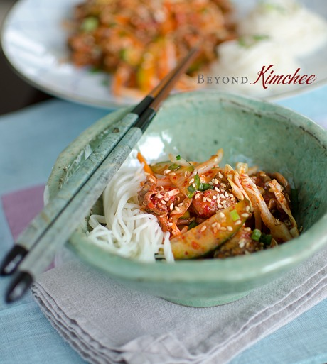 Korean Snail Salad is tossed with crunchy vegetables in spicy sauce and noodles