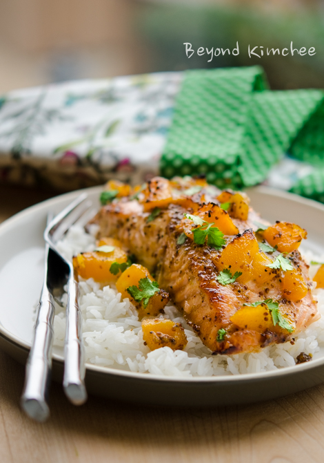 Salmon fillet is baked with canned peach glaze.