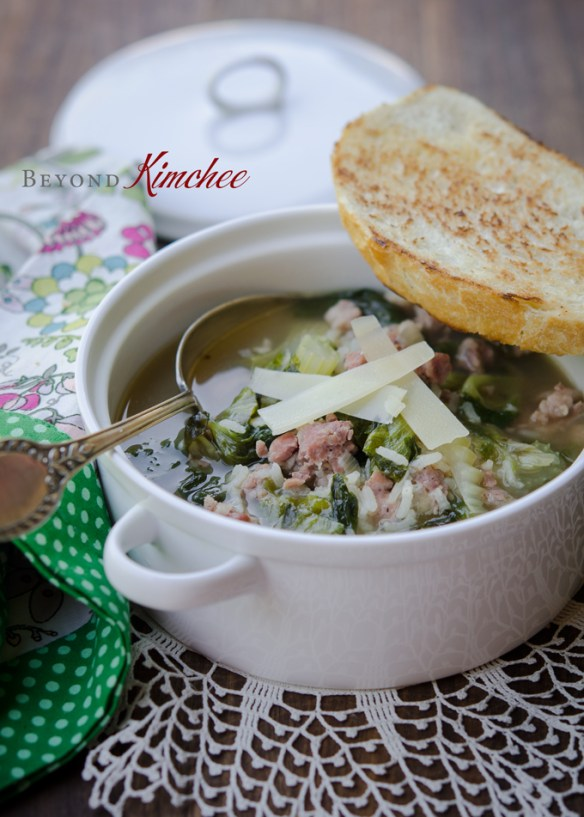 Escarole Soup with Sausage and Rice