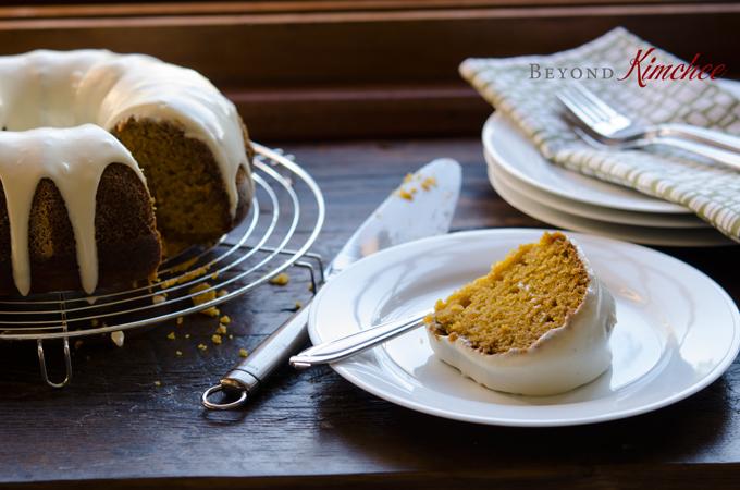 Pumpkin Bundt Cake with Cream Cheese Maple Glaze