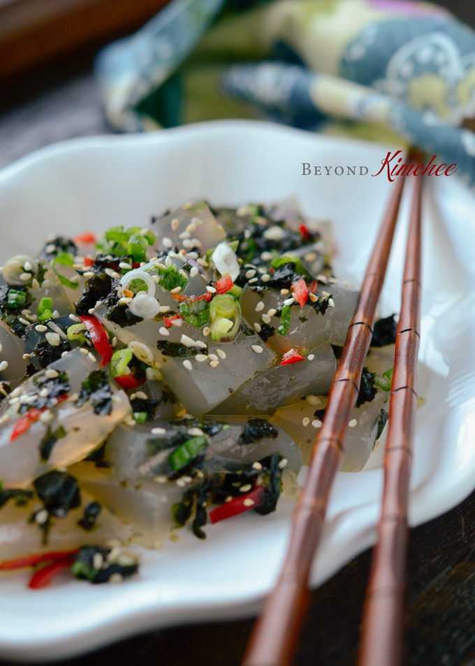 Korean Jelly side dish (Muk-muchim) made with mung bean starch and crumbled seaweed.