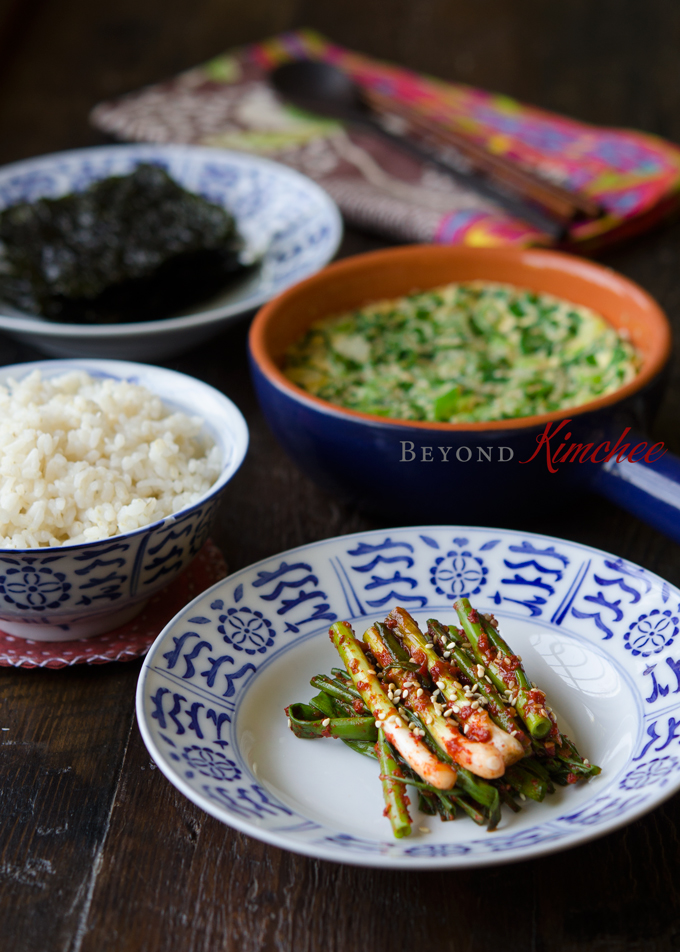 Serve green onion kimchi as a side dish with Korean meal.