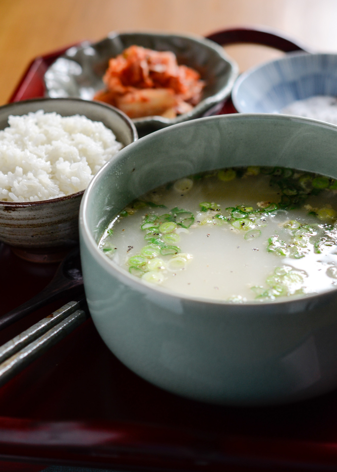 Ox Tail Bone Marrow Soup is served with rice and kimchi