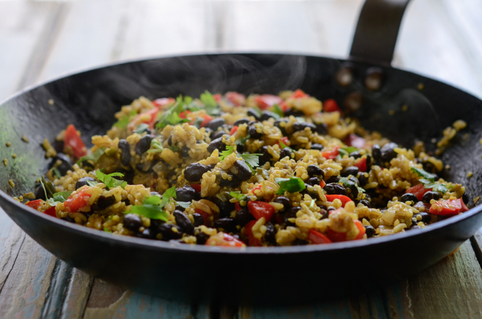 Black Bean quino curry rice is a gluten-free and vegan adaptable dish.
