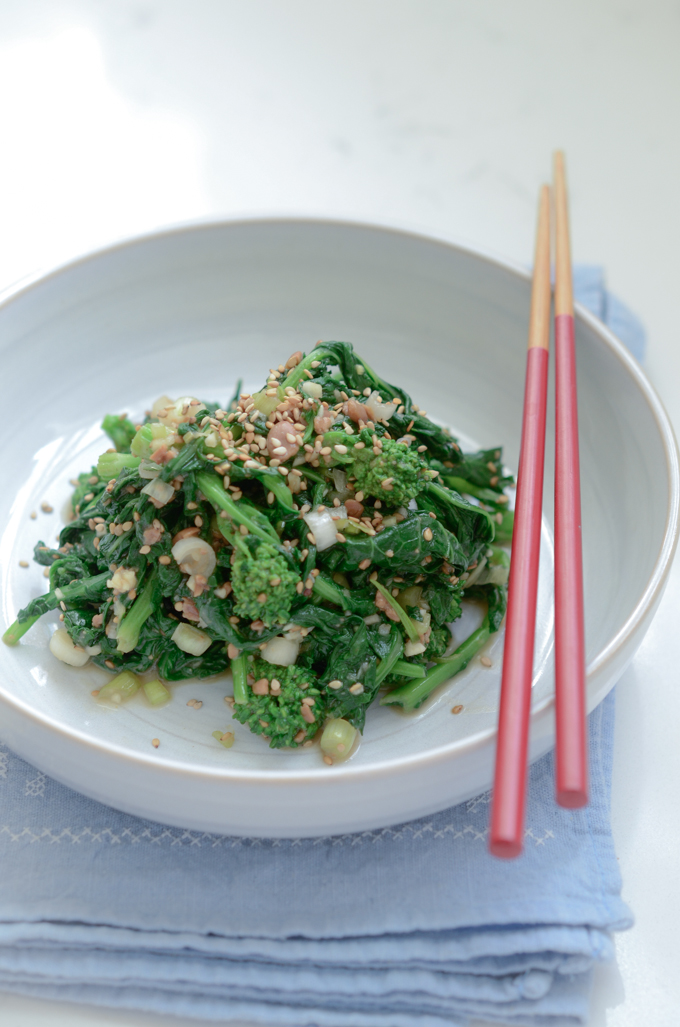 Broccoli Rabe Salad tossed with Korean Soybean Paste is a vegan & vegetarian friendly dish.
