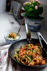 Squid Shrimp Stir-fry with Soybean Paste