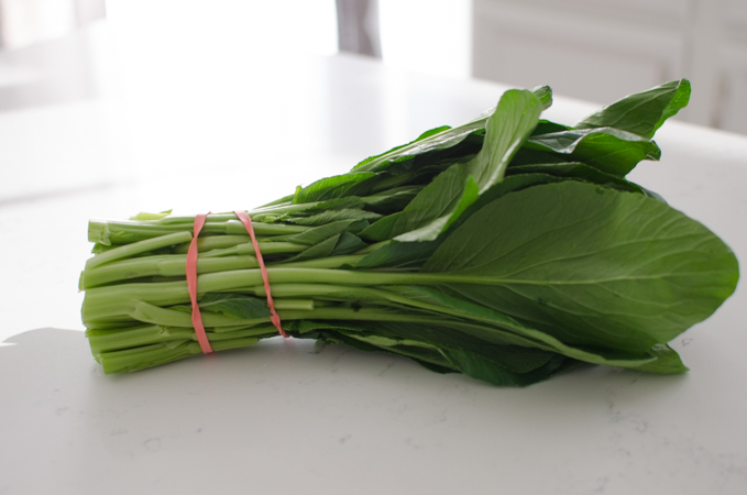 Choy sum is a leafy green vegetables commonly seen in Chinese cuisine.