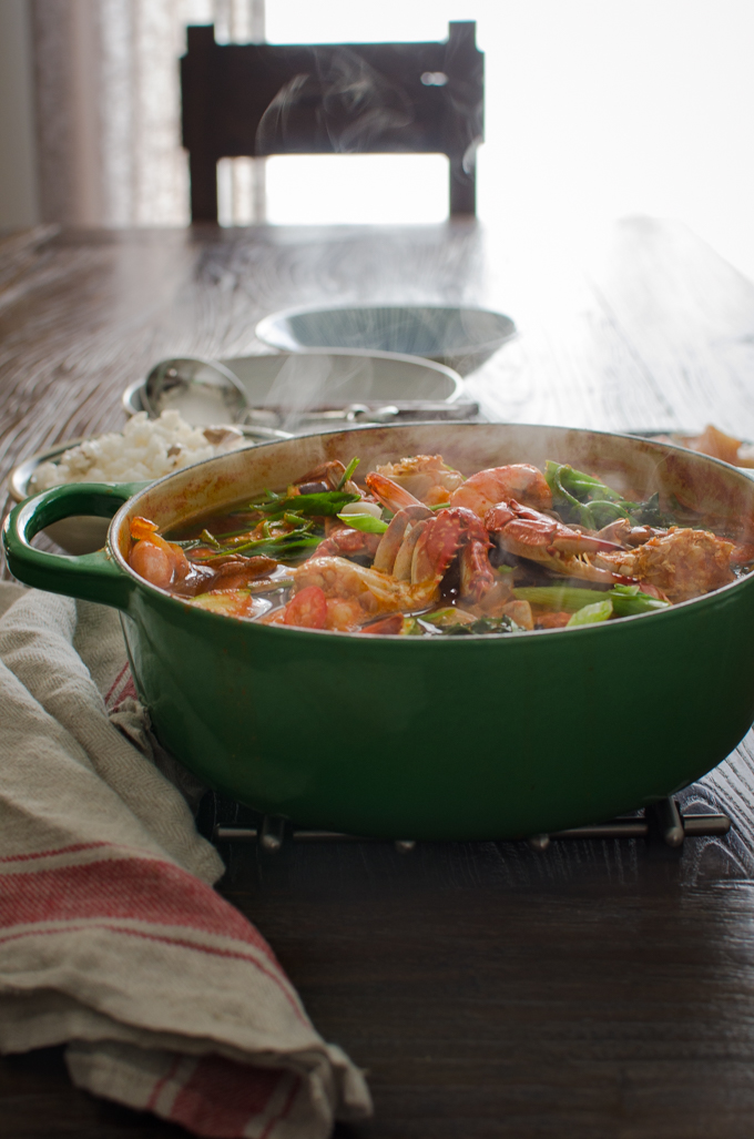 Korean Crab Stew is made with fresh crabs and srimp.