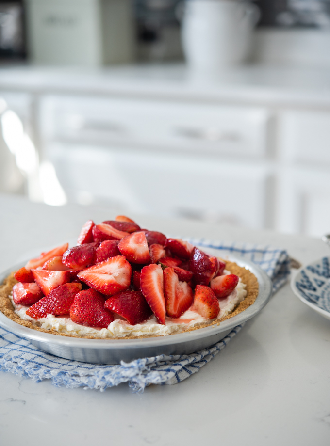 Strawberry mascarpone pie is a spring treat when fresh strawberries are abundant.