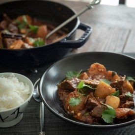 Thai beef massaman curry is made with store-bought massaman curry paste.