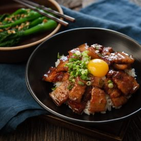 Butadon, Japanese pork rice bow, made with pork belly