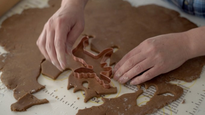 A moose cookie cutter is a perfect pattern to cut out Christmas cookies