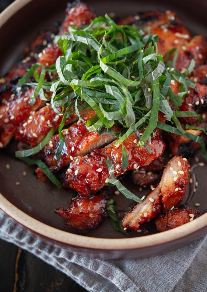 Chicken bulgogi is made with Korean chili paste (gochujang)