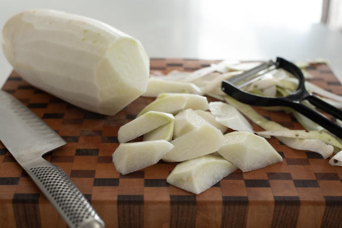Peel Korean radish and cut into irregular size and shape to make the soup more interesting