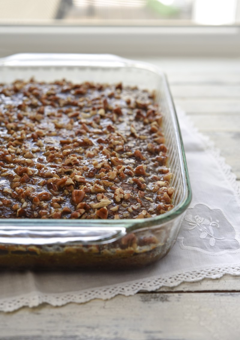 Chocolate oatmeal cake is baked in a 9x13 inch glass pan