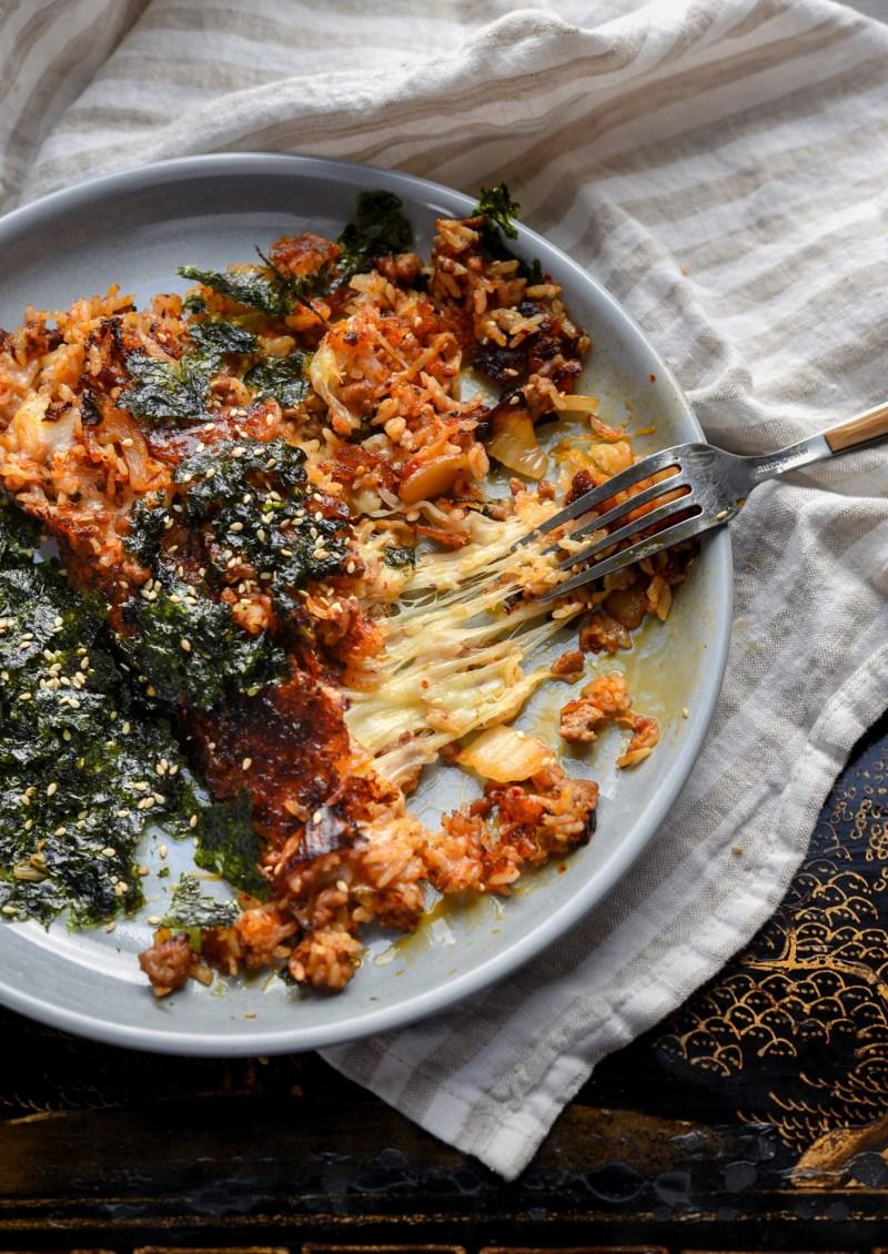 Crispy outside and cheesy inside kimchi fried rice recipe