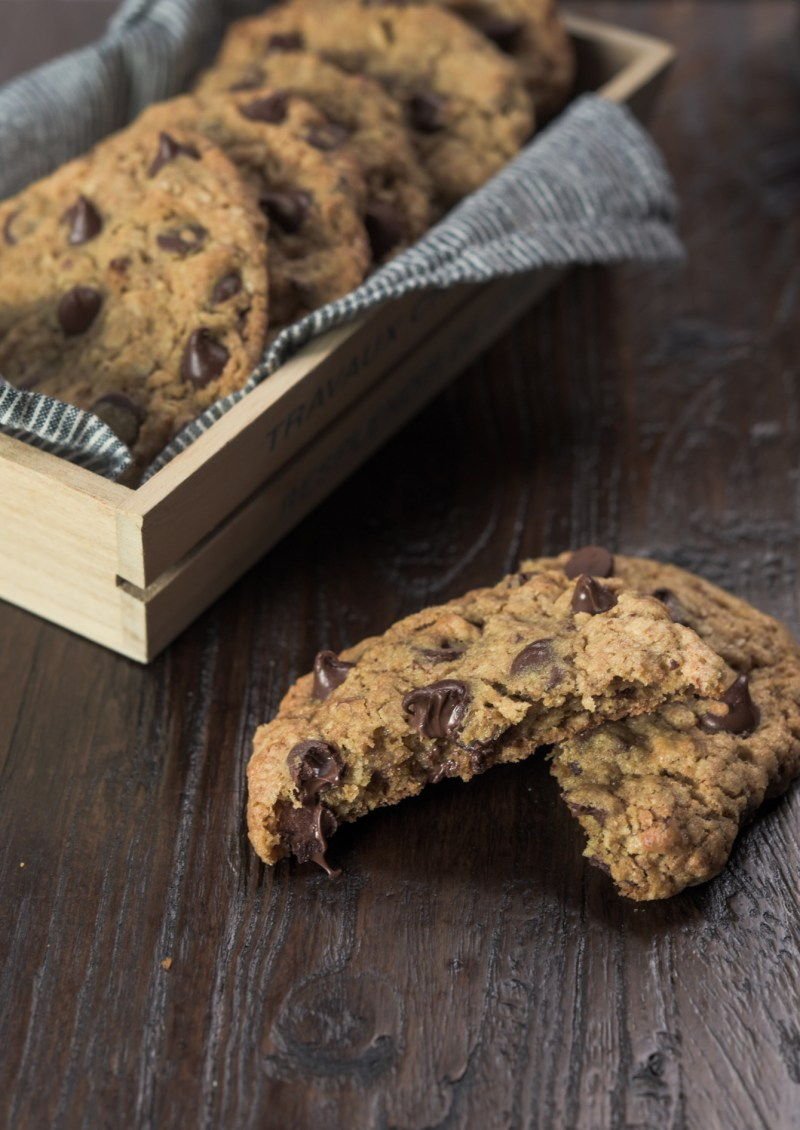 chocolate chip is still warm and gooey in the cookie.