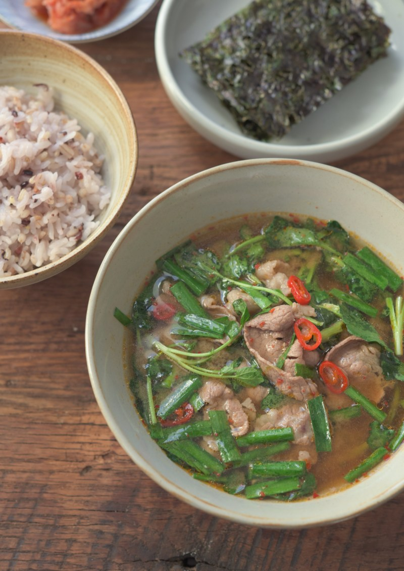 This earthy Korean soybean paste soup is perfect for spring season