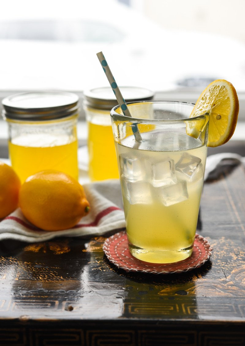Mix lemonade syrup is mixed with water and ice.
