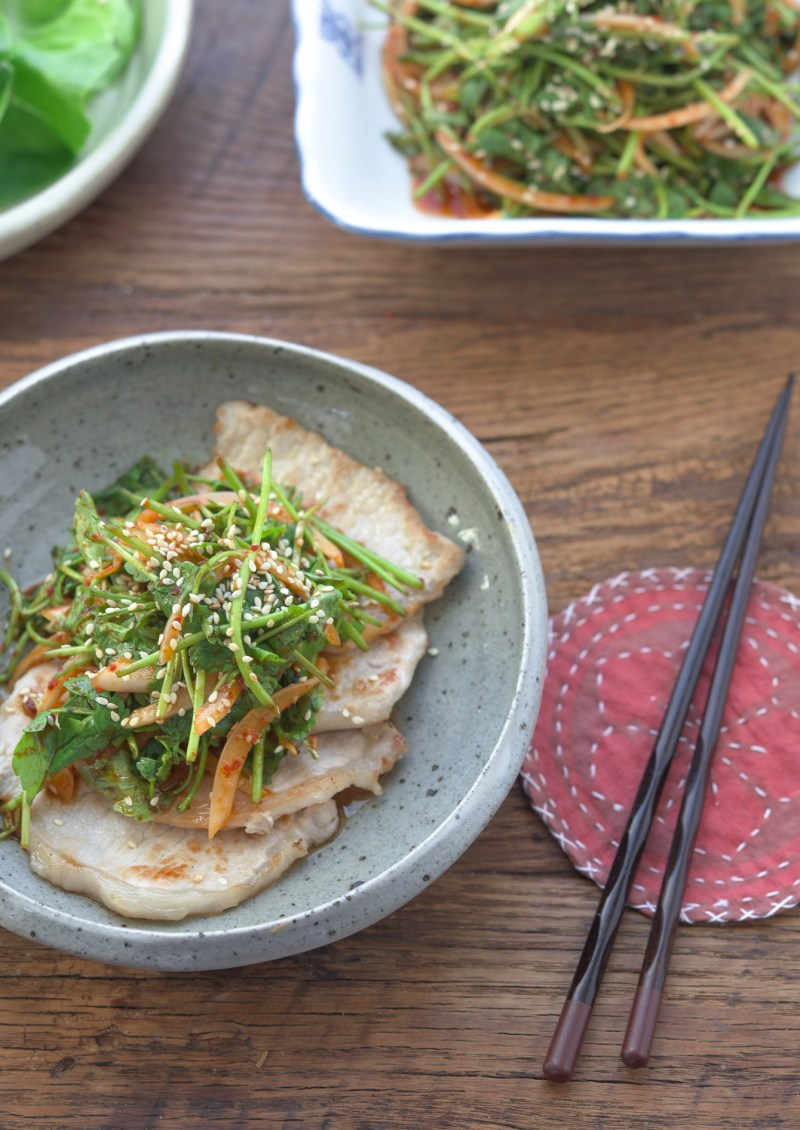 Korean water dropwort salad is served as a topping for Korean BBQ