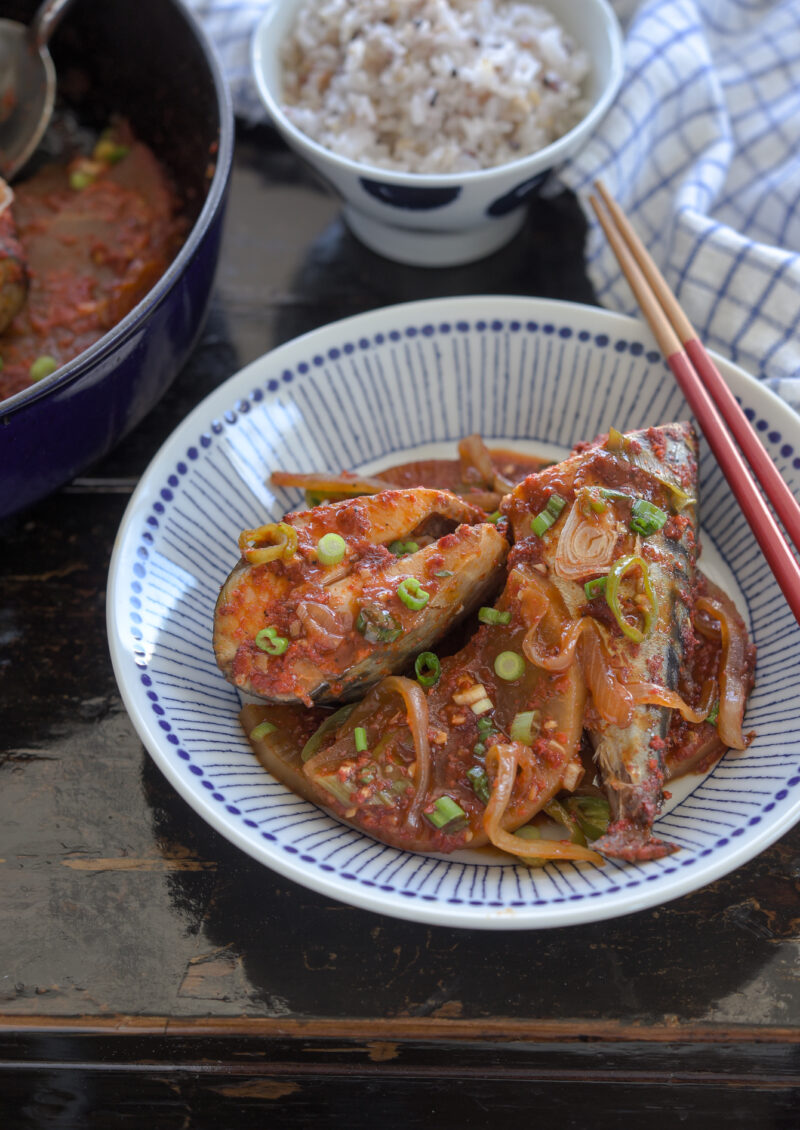Korean braised mackerel and radish is ready to serve with rice