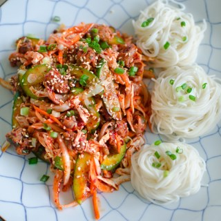 Spicy Korean sea snail salad with vermicelli noodles