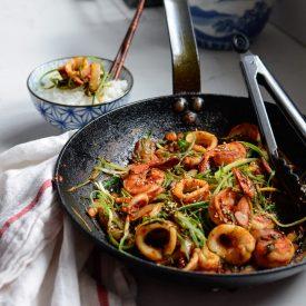 Squid Shrimp Stir-Fry with Korean Soybean Paste