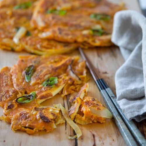Curry Kimchi Pancakes