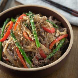 mushroom asparagus japchae with beef