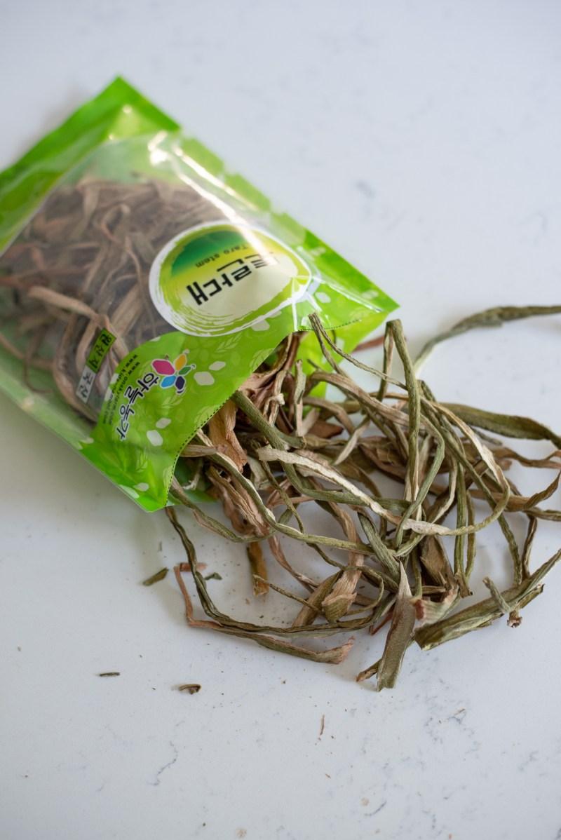 Dried fernbrake and taro stem