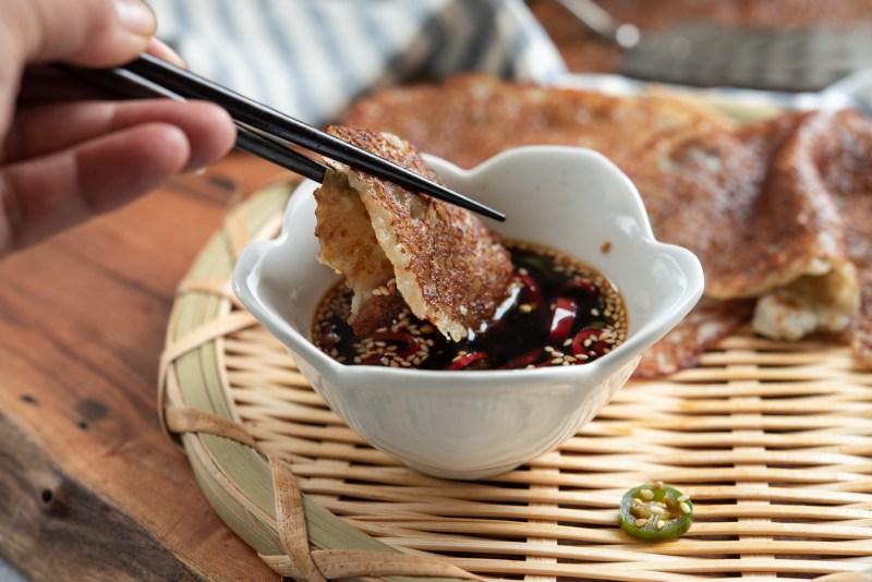 Dip crispy Korean potato pancakes in a soy chili dipping sauce