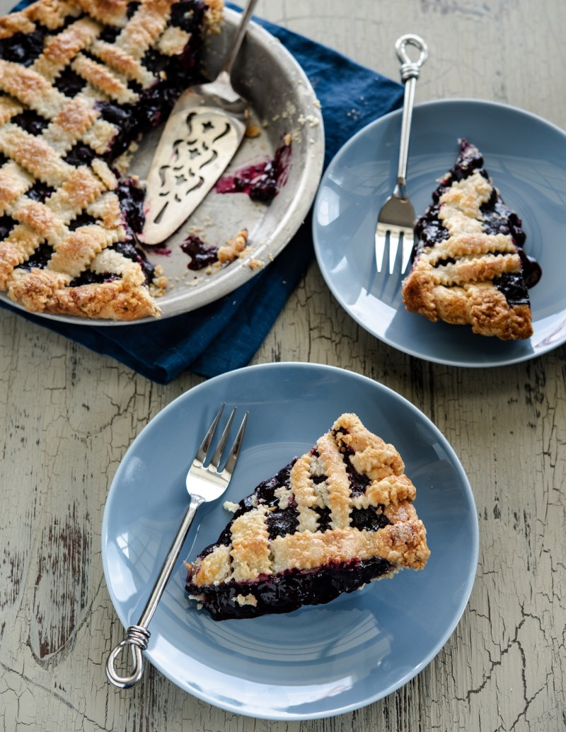 This maple blueberry pie has a perfect filling consistency and texture.