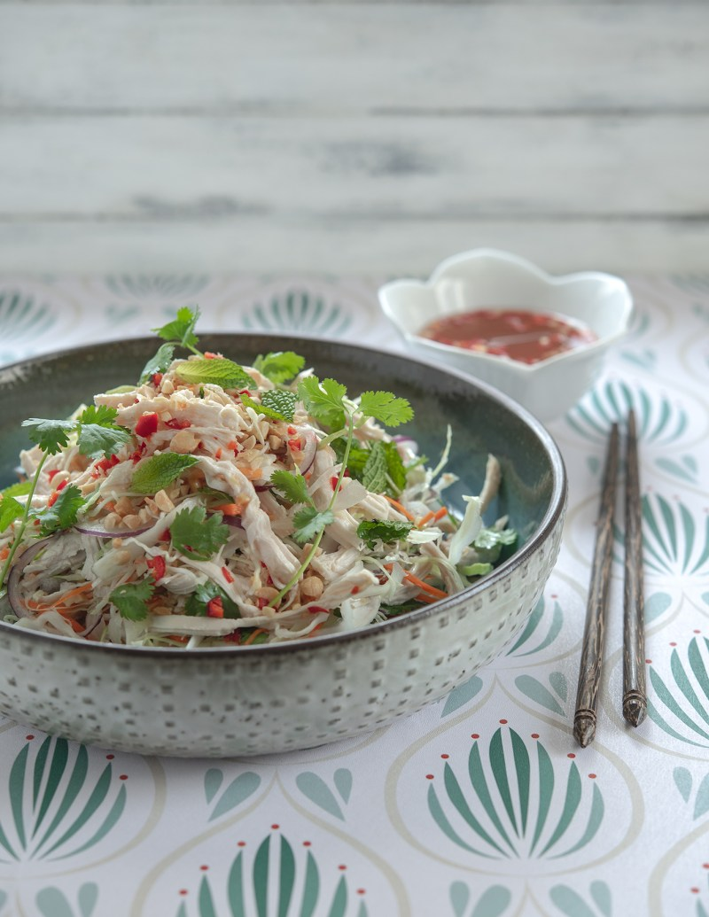 Easy Vietnamese chicken salad made with shredded chicken breast, cabbage, herbs, and roasted peanut.