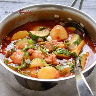 A canned tuna makes a delicious spicy Korean stew with potato and zucchini