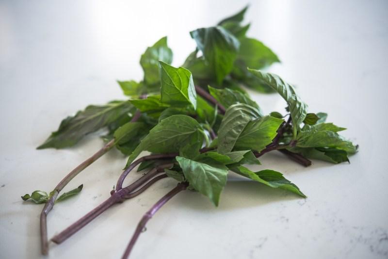 This aromatic fresh Thai basil has purple stems