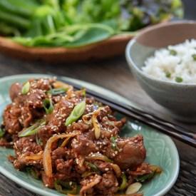 Gochujang sauce Korean pork bulgogi is best to serve with rice and lettuce.