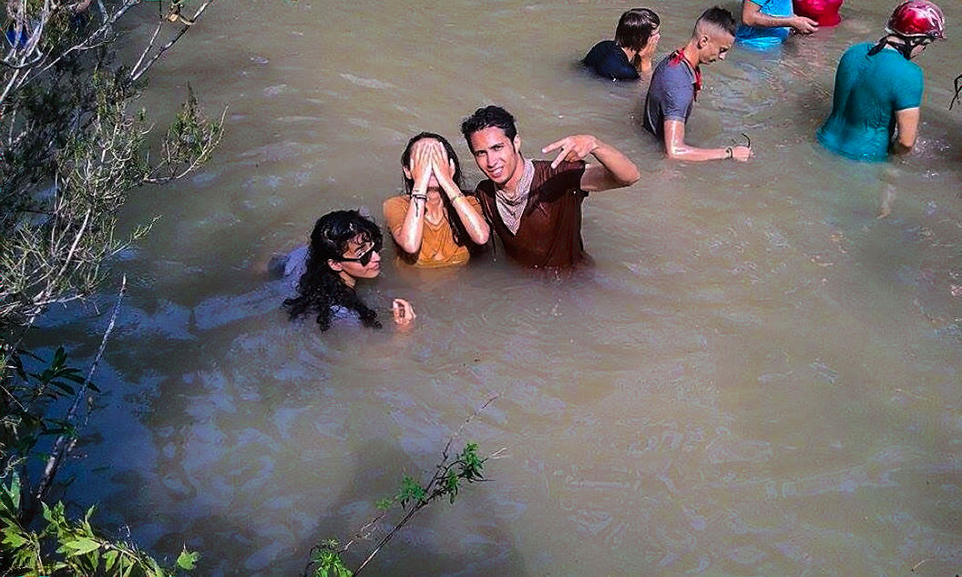 In the mud water