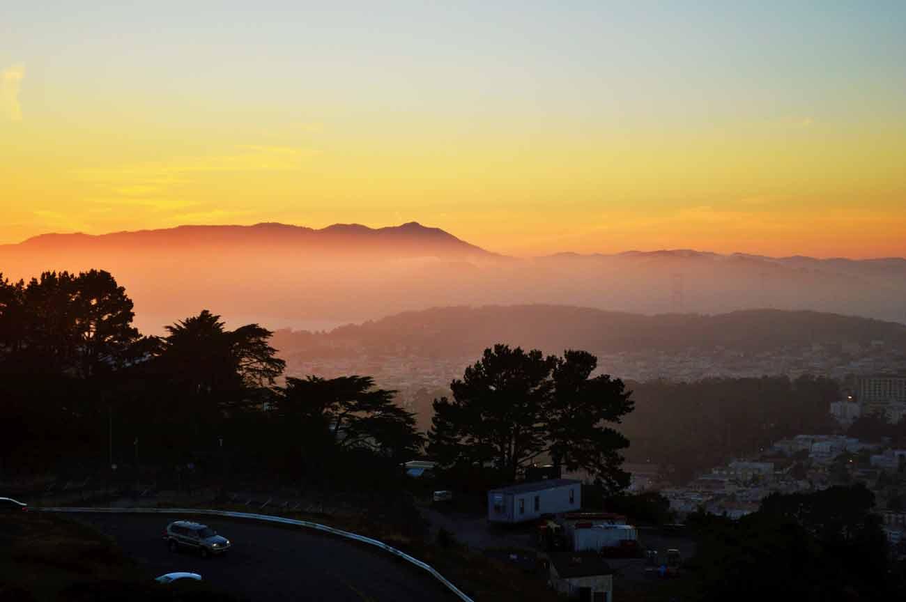 sunset at twin peak san francisco california