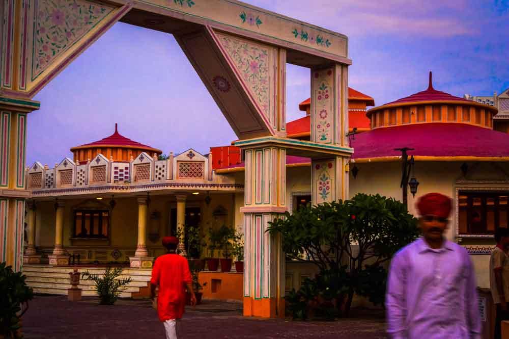 People at a Jaipur tourist resort-village