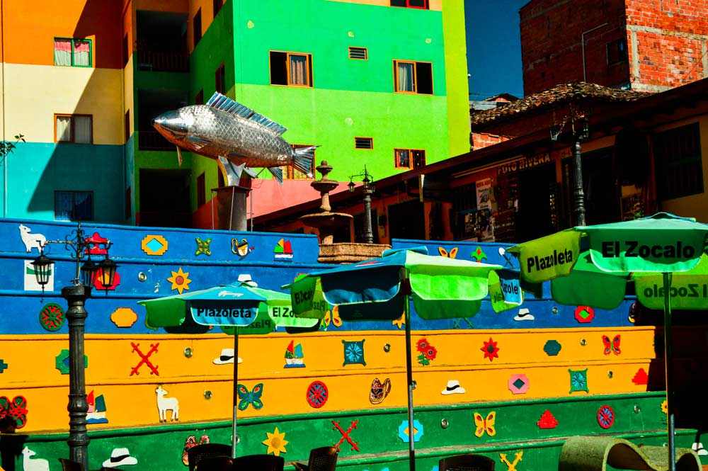 Colorful stairs in Guatape, Colombia