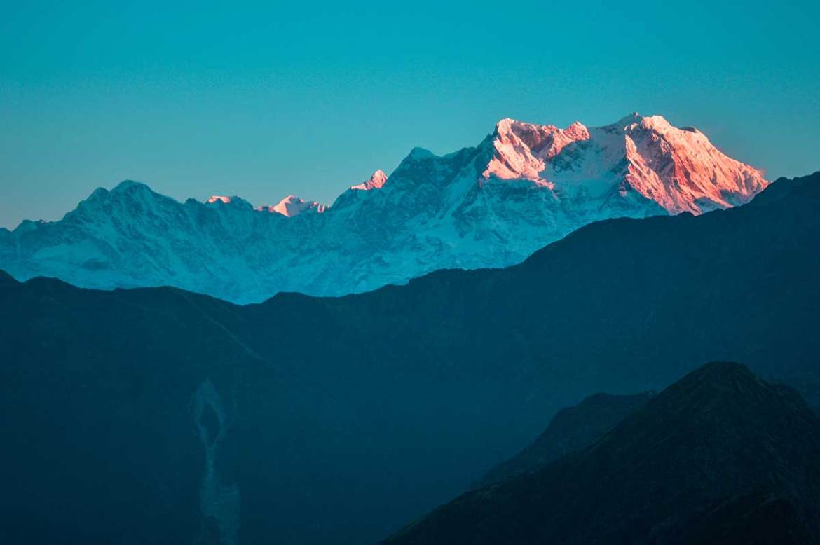 Himalayas Sunrise during a cold winter day in India