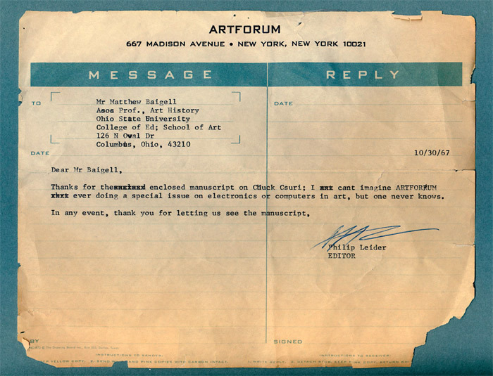 Letter from Philip Leider to Matthew Baigell, October 30, 1967.