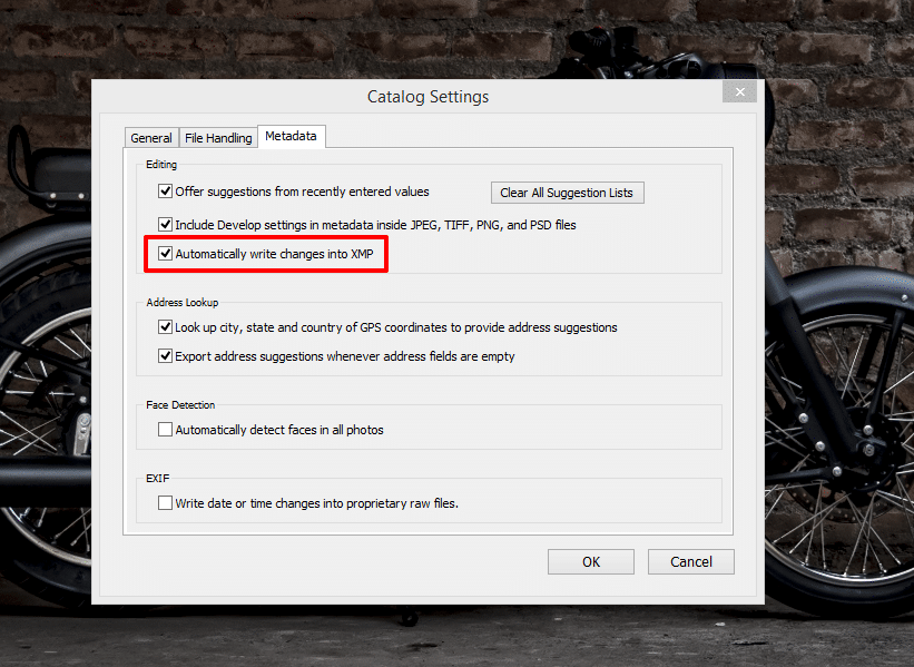 Adobe Photoshop Lightroom > Catalog Settings > Metadata Tab > Automatically write changes into XMP