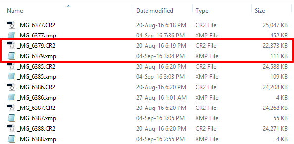 Adobe Lightroom XMP sidecar files in Windows Explorer