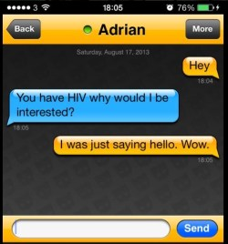 An example of stigma faced by positive people on social media and hook-up apps.