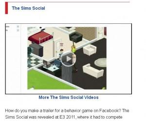 IGN - Sims Social E3 Trailer = #5 of Top E3 Trailers
