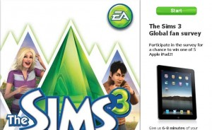 The Sims 3 Facebook Page + a Survey + Chance to Win iPad 2 = Awesome!